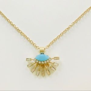 Jewelry - NWT Gold Tone Statement Necklace Light Blue, Bling
